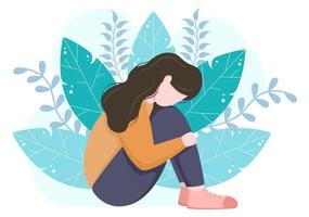 Mental Health Due To Psychology, Depression, Loneliness, Illness, Brain Development, or Hopelessness. Psychotherapy And Mentality Healthcare. Illustration vector