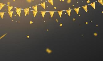 Bandera de oro confeti concepto plantilla de diseño día de fiesta feliz, celebración de fondo ilustración vectorial. vector