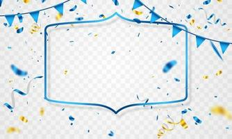 celebration frame background. gold and blue confetti glitters for event and holiday poster. singles super sale vector