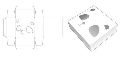 Mini tin box with panda face stencil die cut template vector