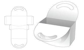 Short handle bag die cut template vector