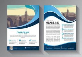 blue flyer business templateset vector