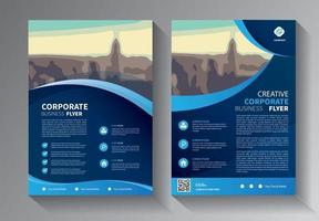 blue flyer business template set vector