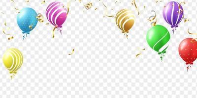 promoción de vacaciones de plantilla de diseño de concepto de globos, ilustración de vector de celebración de fondo.