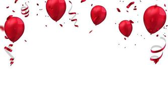 balloons red celebration frame background. red confetti glitters for event and holiday poster. singles super sale vector