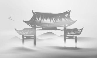 Chinese ink and water landscape painting banner background Chinese door vector