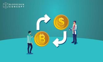 Concept of Block chain technology, data analysis for investors , marketing solutions or financial performance. crypto currency statistics concept, illustration modern flat design isometric vector