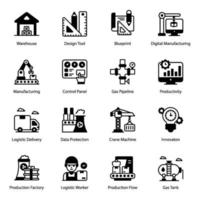 Industry and Production icon set vector