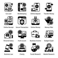 Bank Loans and Financial Analytics icon set vector