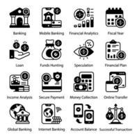 conjunto de iconos de banca en línea y pago seguro vector