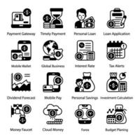 Mobile Payment and Budgeting icon set vector