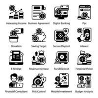 dinero en línea y conjunto de iconos de depósito seguro vector