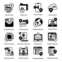 General Data Protection Regulation icon set vector