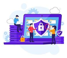 Data protection concept, people protecting data and files on a giant laptop. Vector illustration