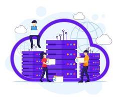 concepto de computación en la nube, personas que trabajan en computadoras portátiles y servidores, almacenamiento digital, centro de datos. ilustración vectorial vector