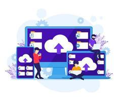 concepto de computación en la nube, las personas trabajan cerca de dispositivos gigantes, almacenamiento digital, centro de datos. ilustración vectorial vector