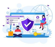 Internet security concept, People work on laptop, secure internet connection. Vector illustration
