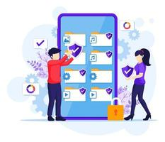 Data protection concept, people protecting data and files on a giant smartphone. Vector illustration