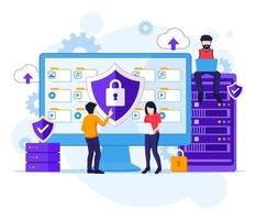 Data Security concept, People work on screen protecting data and files. Vector illustration