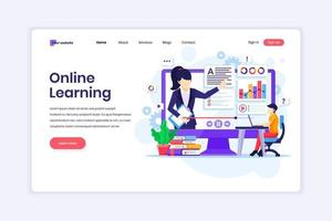 Landing page design concept of Online Learning, Webinar and online education. Student learning online at home. Online video courses. vector illustration