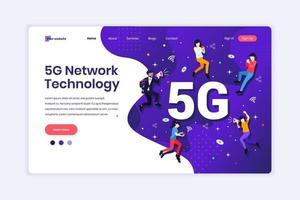 Landing page design concept of 5G Network Technology. People using High-speed wireless connection 5G. vector illustration