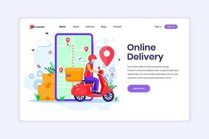 Landing page design concept of Online Delivery service with a delivery man using scooter wearing a mask. Online order tracking. vector illustration