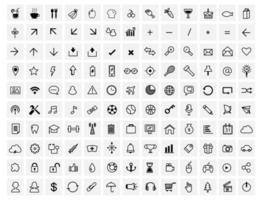 130 vector black  web icons set on gray
