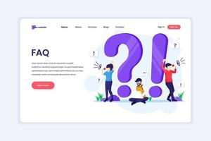 Landing page design concept of Frequently Asked Question or FAQ concept with people work near big exclamation and question mark symbol. vector illustration