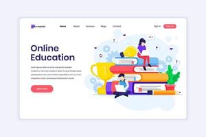 Landing page design concept of Online Learning, Webinar, and online education with characters. vector illustration