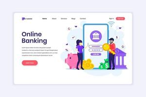 Landing page design concept of Mobile banking with people characters using a smartphone for internet mobile payments and transfers. vector illustration