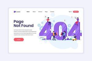 concepto de diseño de página de destino de la página de error 404 no encontrada con personas que intentan corregir el error en una página web cerca del símbolo grande 404. ilustración vectorial vector