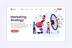 Landing page design concept of Marketing strategy campaign concept, people holding and shout on a giant megaphone. vector illustration