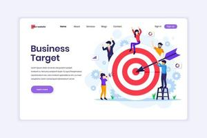 Landing page design concept of Business Target, People put darts on the dartboard. target with an arrow hit the target. vector illustration