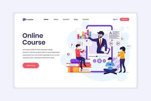 Landing page design concept of Online learning, Students learning online video courses on a giant smartphone. vector illustration