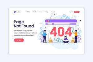 Landing page design concept of 404 error page not found with people trying to fix error on a web screen page. vector illustration
