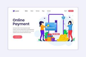Landing page design concept of Mobile payment or money transfer concept with women using mobile phone making a payment transaction. vector illustration