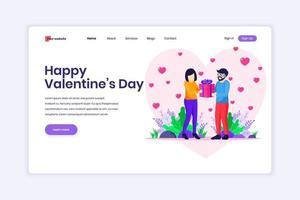 Landing page design concept of Valentine's Day Celebration, A man is expressing love by giving a heart symbol to a woman. Man and Woman in Relations. vector illustration