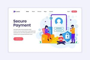 Landing page design concept of Secure payment or money transfer concept with characters. vector illustration