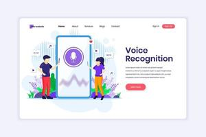 Landing page design concept of Voice recognition, voice security identification. Digital Voice assistant. vector illustration