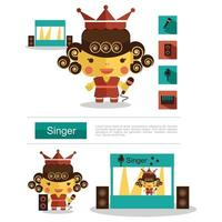 Character design Singer career, icon vector with white background