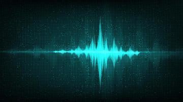 Onda de sonido digital sobre fondo verde oscuro, concepto de diagrama de onda de terremoto y tecnología, diseño para estudio de música y ciencia, ilustración vectorial. vector