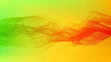 Escala de Richter baja y alta de onda de sonido digital verde y naranja sobre fondo amarillo, concepto de diagrama de onda de terremoto y tecnología, ilustración vectorial. vector
