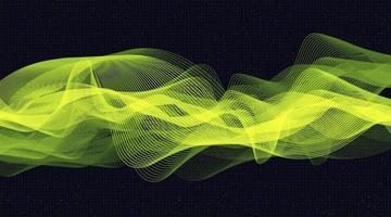 Fondo de onda de sonido digital verde futurista, concepto de diagrama de onda de terremoto y tecnología, diseño para estudio de música y ciencia, ilustración vectorial. vector