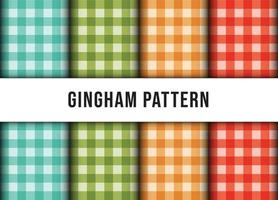 Set of checkered gingham line tablecloth seamless pattern. Premium Vector