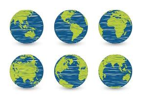 conjunto del planeta tierra. conjunto de globo terráqueo. mapas del mundo diseño plano simple con efecto de garabato. vector premium aislado