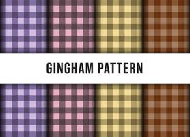 Set collection of checkered gingham line tablecloth seamless pattern. Premium Vector