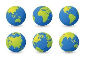 Set of planet earth. Set of earth globe. World maps flat design simple. Isolated premium vector