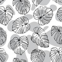 Monstera Deliciosa Leaf with Abstract Shape Seamless Pattern. Perfect for Textile, Fabric, Background, Print vector