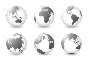 Set of planet earth. Set of earth globe. World maps white black transparency transparent. Isolated premium vector