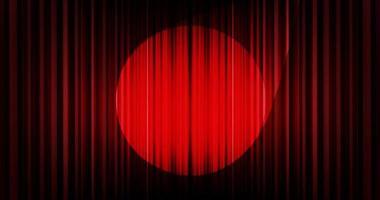 Vector de fondo de cortina rojo oscuro con luz de escenario, alta calidad y estilo moderno.